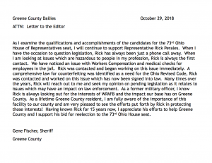 Endorsement Letter From Gene Fischer, Sheriff